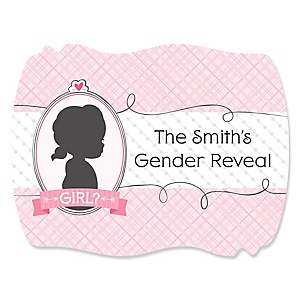 Gender Reveal - Girl - Personalized Party Squiggle Stickers - 16 ct