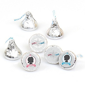 Gender Reveal - Round Candy Labels Baby Shower Favors - Fits Hershey's Kisses - 108 ct