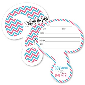 Chevron Gender Reveal - Shaped Fill-In Invitations - Gender Reveal Invitation Cards with Envelopes - Set of 12