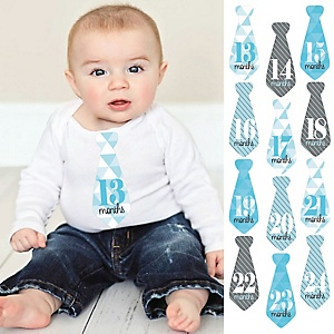 Tie Baby Boy Second Year Monthly Stickers - Geometric Blue & Gray - Baby Shower Gift Ideas - 13-24 Months Necktie Stickers 12 Piece