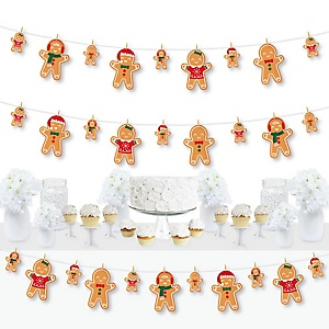 Gingerbread Christmas - Gingerbread Man Holiday Party DIY Decorations - Clothespin Garland Banner - 44 Pieces