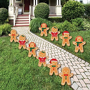Gingerbread Christmas - Lawn Decorations - Outdoor Gingerbread Man Holiday Party Yard Decorations - 10 Piece