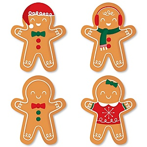 Gingerbread Christmas - DIY Shaped Gingerbread Man Holiday Party Cut-Outs - 24 Count