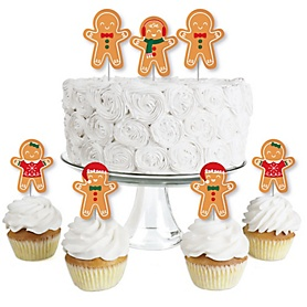 Gingerbread Christmas - Dessert Cupcake Toppers - Gingerbread Man Holiday Party Clear Treat Picks - Set of 24