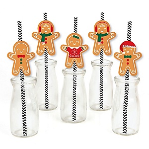 Gingerbread Christmas - Paper Straw Decor - Gingerbread Man Holiday Party Striped Decorative Straws - Set of 24