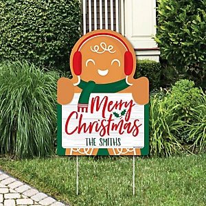 Gingerbread Christmas - Party Decorations - Gingerbread Man Holiday Party Personalized Welcome Yard Sign