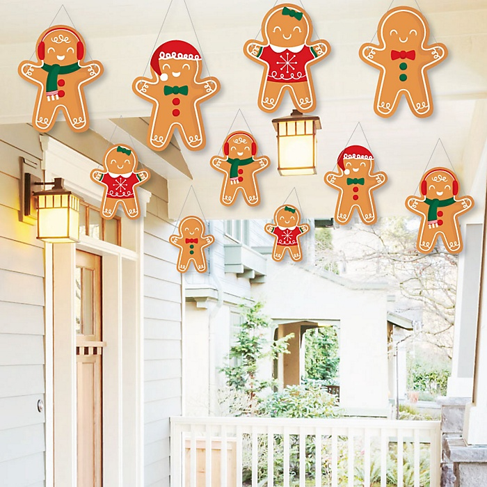 Hanging Gingerbread Christmas - Outdoor Gingerbread Man Holiday Party Hanging Porch and Tree Yard Decorations - 10 Pieces