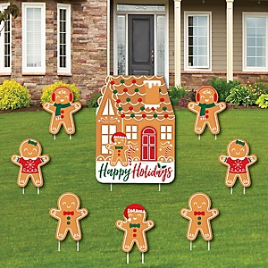 Gingerbread Christmas - Yard Sign and Outdoor Lawn Decorations - Gingerbread Man Holiday Party Yard Signs - Set of 8