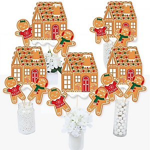 Gingerbread Christmas - Gingerbread Man Holiday Party Centerpiece Sticks - Table Toppers - Set of 15