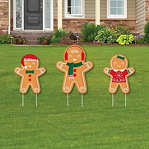 Gingerbread Christmas - Yard Sign and Outdoor Lawn Decorations - Gingerbread Man Holiday Party Yard Display - 3 Piece