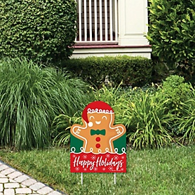 Gingerbread Christmas - Outdoor Lawn Sign - Gingerbread Man Holiday Party Yard Sign - 1 Piece