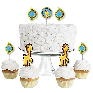 Giraffe Boy - Dessert Cupcake Toppers - Baby Shower or Birthday Party Clear Treat Picks - Set of 24