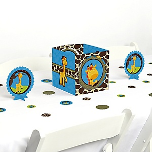 Giraffe Boy - Baby Shower or Birthday Party Centerpiece and Table Decoration Kit