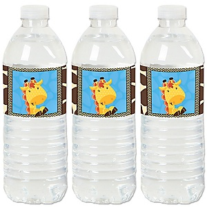 Giraffe Boy - Baby Shower or Birthday Party Water Bottle Sticker Labels - Set of 20