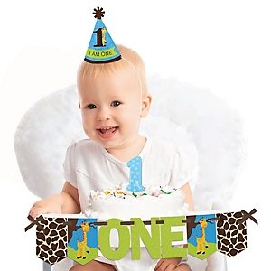 Giraffe Boy 1st Birthday - First Birthday Boy Smash Cake Decorating Kit - High Chair Decorations