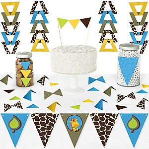 Giraffe Boy - DIY Pennant Banner Decorations - Baby Shower or Birthday Party Triangle Kit - 99 Pieces