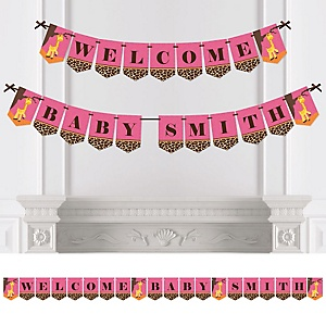 Giraffe Girl - Personalized Baby Shower Bunting Banner & Decorations