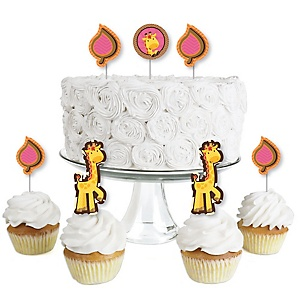 Giraffe Girl - Dessert Cupcake Toppers - Baby Shower or Birthday Party Clear Treat Picks - Set of 24