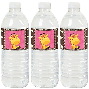 Giraffe Girl - Baby Shower or Birthday Party Water Bottle Sticker Labels - Set of 20