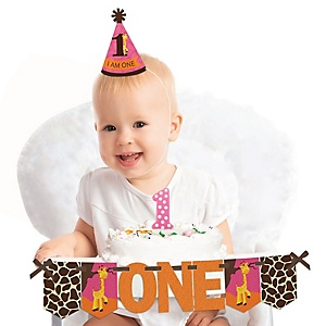 Giraffe Girl 1st Birthday - First Birthday Girl Smash Cake Decorating Kit - High Chair Decorations