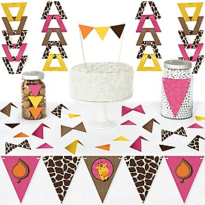 Giraffe Girl - DIY Pennant Banner Decorations - Baby Shower or Birthday Party Triangle Kit - 99 Pieces