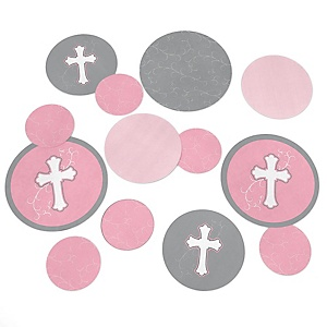 Little Miracle Girl Pink & Gray Cross - Baby Shower Table Confetti - 27 ct