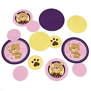 Baby Girl Teddy Bear - Baby Shower Table Confetti - 27 ct