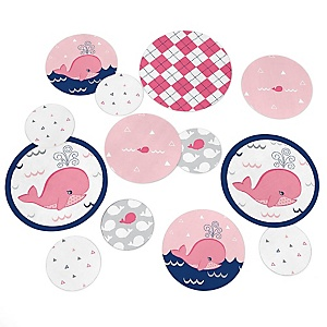 Tale Of A Girl Whale - Personalized Baby Shower or Birthday Party Table Confetti - 27 ct