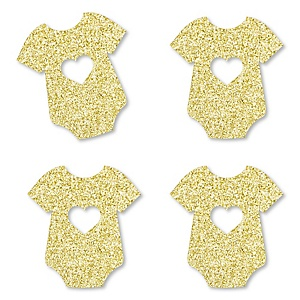 Gold Glitter Girl Baby Bodysuit - No-Mess Real Gold Glitter Cut-Outs - Girl Baby Shower Confetti - Set of 24