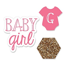 Baby Girl - DIY Shaped Party Paper Cut-Outs - 24 ct