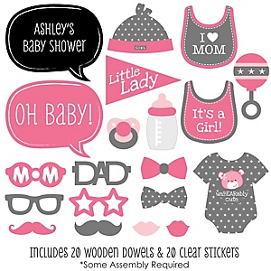 Baby Girl - 20 Piece Photo Booth Props Kit