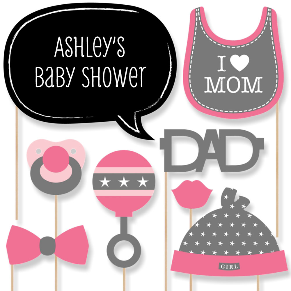 Captivating Baby Girl   Baby Shower Photo Booth Props Kit   20 Props