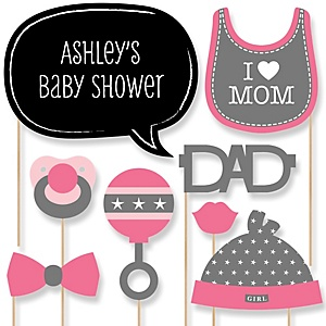 Baby Girl - Baby Shower Photo Booth Props Kit - 20 Props