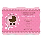 Girl Baby Carriage - Personalized Baby Shower Invitations