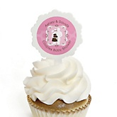 Silhouette Couples Baby Shower - It's A Girl - 12 Cupcake Picks & 24 Personalized Stickers - Baby Shower Cupcake Toppers