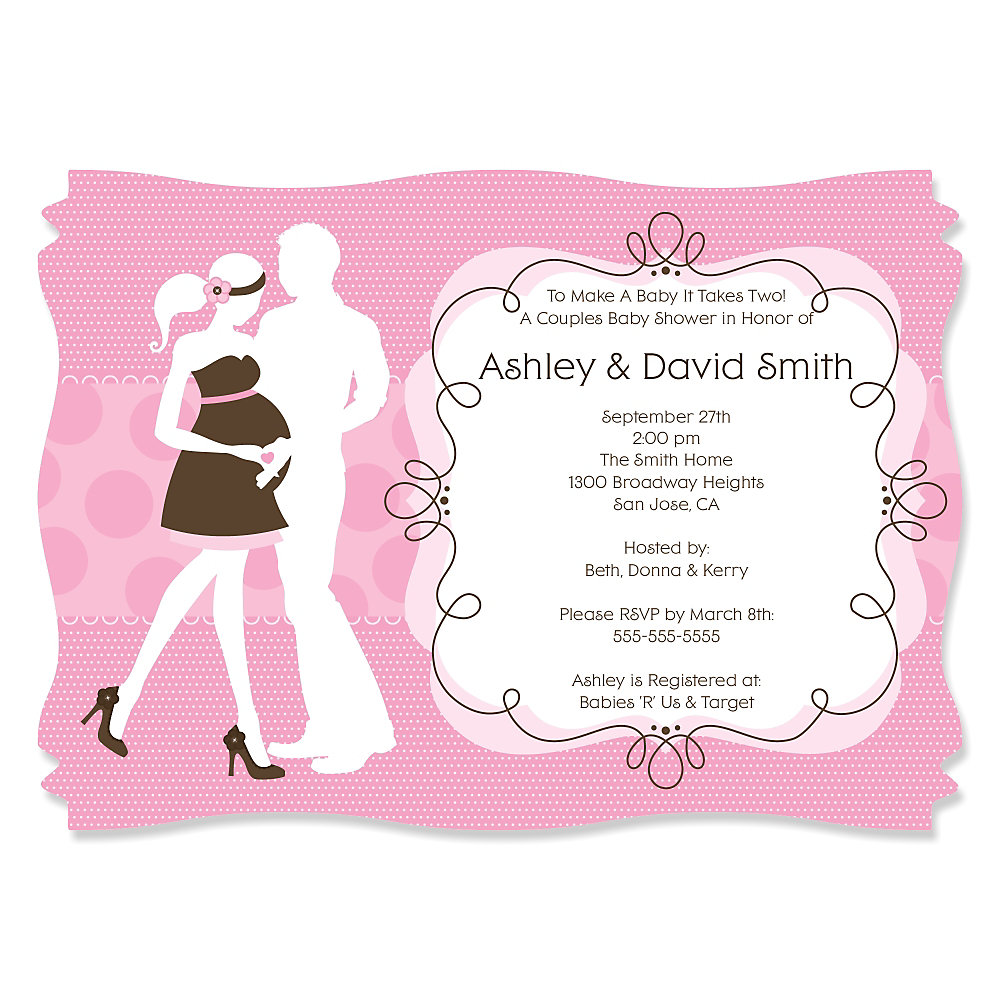 Silhouette Couples Baby Shower - It\'s A Girl -Personalized Baby ...