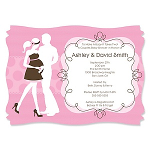 Silhouette Couples Baby Shower - It's A Girl - Personalized Baby Shower Invitations