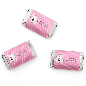 Silhouette Couples Baby Shower - It's A Girl - Personalized Baby Shower Mini Candy Bar Wrapper Favors - 20 ct