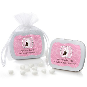 Silhouette Couples Baby Shower - It's A Girl - Personalized Baby Shower Mint Tin Favors
