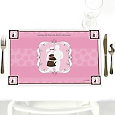 Silhouette Couples Baby Shower - It's A Girl - Personalized Baby Shower Placemats