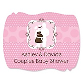 Silhouette Couples Baby Shower - It's A Girl - Personalized Baby Shower Squiggle Stickers - 16 ct