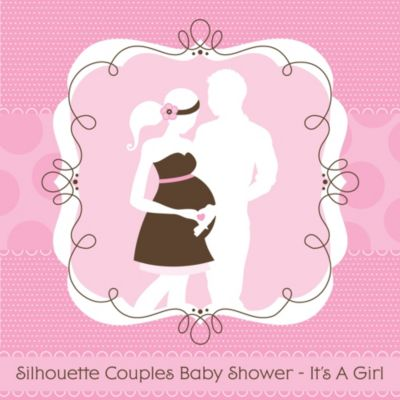 Silhouette Couples Baby Shower   Itu0027s A Girl   Baby Shower Theme