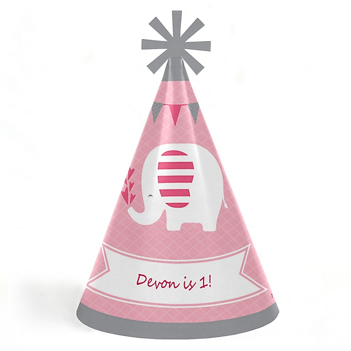 Pink Elephant - Personalized Cone Happy Birthday Party Hats for Kids and Adults - Set of 8 (Standard Size)