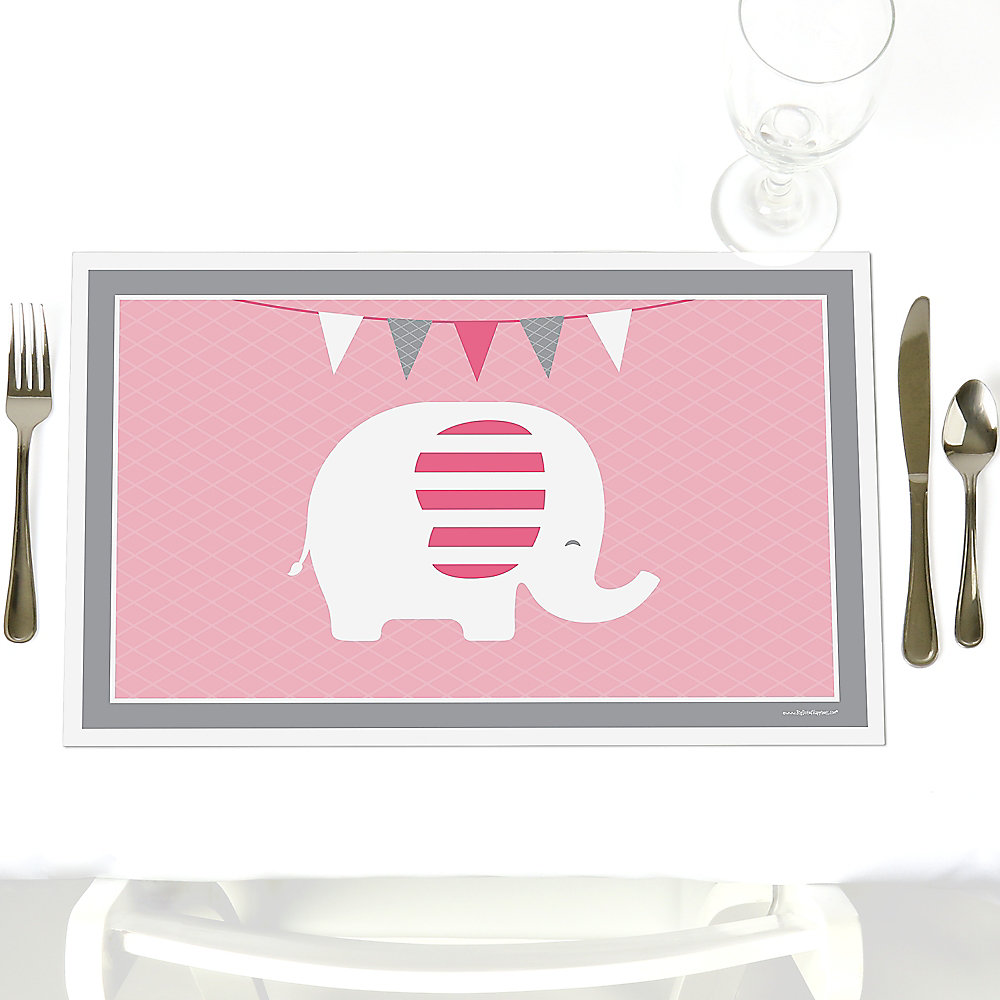 Pink Elephant Party Table Decorations Girl Baby Shower Or Birthday Party Placemats Set Of 12