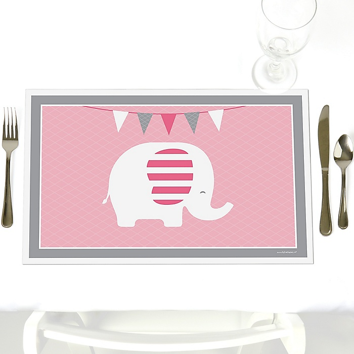 Pink Elephant - Party Table Decorations - Girl Baby Shower or Birthday Party Placemats - Set of 12