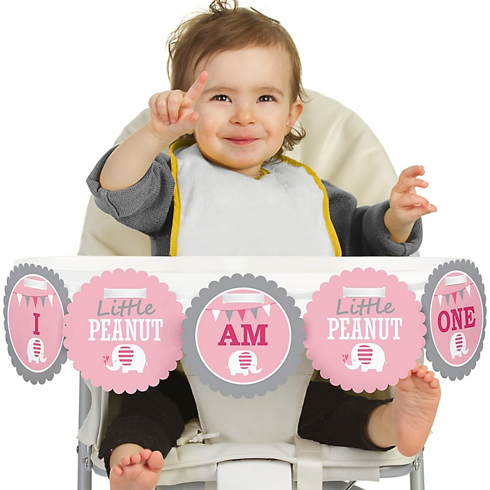 Pink Elephant 1st Birthday - I am One - First Birthday High Chair Birthday Banner