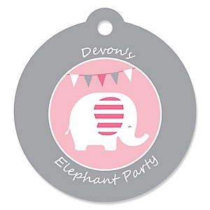 Girl Elephant - Round Personalized Party Tags - 20 ct