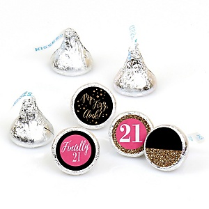 Finally 21 Girl - Round Candy Labels 21st Birthday Party Favors - Fits Hershey's Kisses - 108 ct