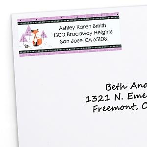 Miss Foxy Fox - Personalized Baby Shower Return Address Labels - 30 ct