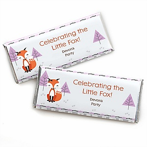 Miss Foxy Fox - Personalized Candy Bar Wrapper Baby Shower or Birthday Party Favors - Set of 24